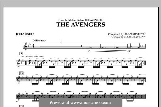 The Avengers: Bb Clarinet 3 part by Alan Silvestri