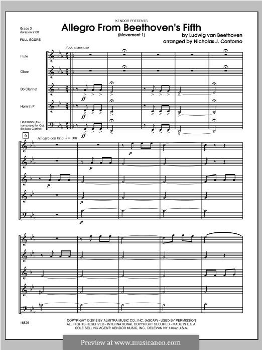Teil I: Allegro, for wind band – full score by Ludwig van Beethoven