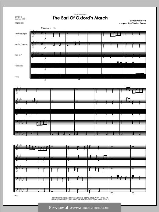 The Earl of Oxford's March: For brass band – full score by William Byrd