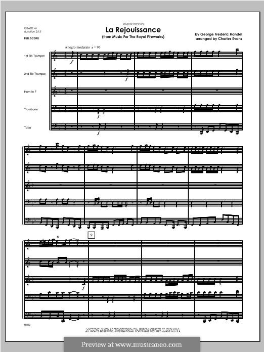 La Rejouissance: For brass band – full score by Georg Friedrich Händel