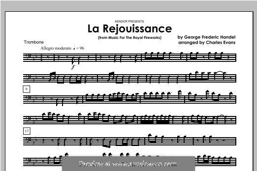 La Rejouissance: For brass band – Trombone part by Georg Friedrich Händel
