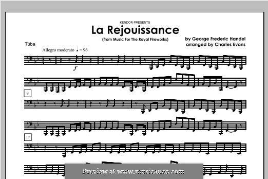 La Rejouissance: For brass band – Tuba part by Georg Friedrich Händel