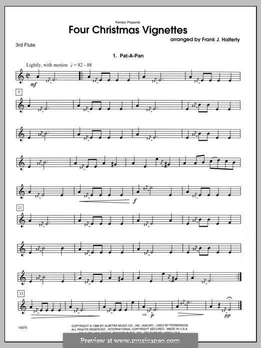 Four Christmas Vignettes: Flute 3 part by folklore