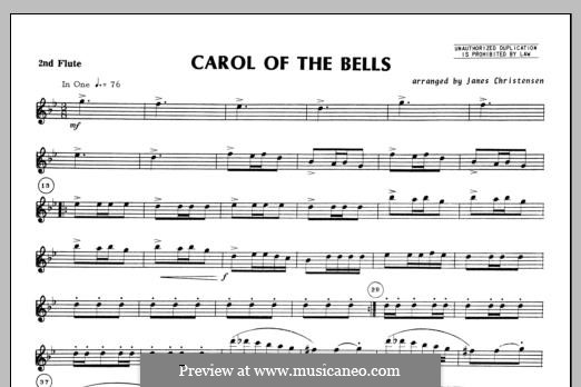Carol of the Bells: For trio flutes – Flute 2 part by folklore