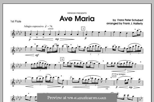 Ave Maria (Printable Scores), D.839 Op.52 No.6: For flutes - Flute 1 part by Franz Schubert