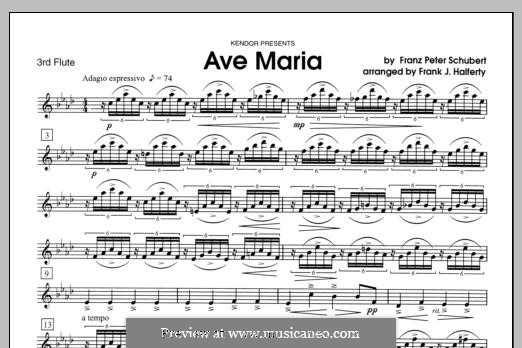 Ave Maria (Printable Scores), D.839 Op.52 No.6: For flutes - Flute 3 part by Franz Schubert