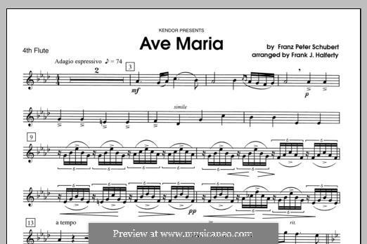 Ave Maria (Printable Scores), D.839 Op.52 No.6: For flutes - Flute 4 part by Franz Schubert