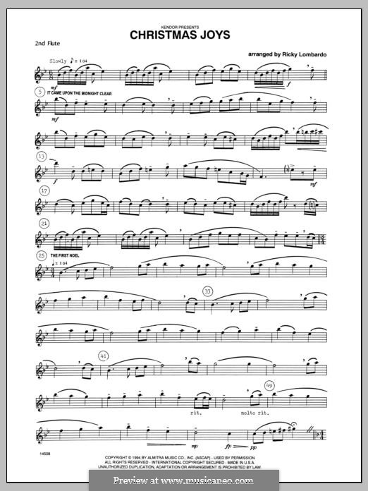 Christmas Joys, for flutes: Flute 2 part by folklore