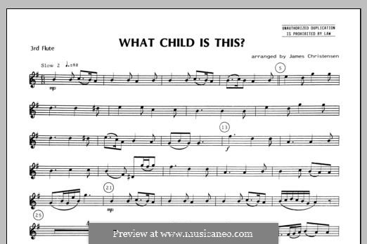 What Child is This (Christmas Carol): For quartet flutes – Flute 3 part by folklore