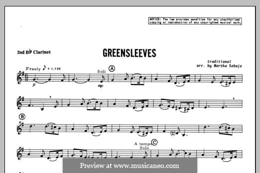 Greensleeves (Printable scores): For trio clarinets – Clarinet 2 part by folklore