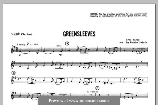 Greensleeves (Printable scores): For trio clarinets – Clarinet 3 part by folklore