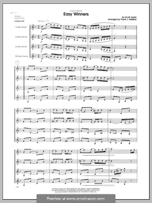 Easy Winners: For clarinets - full score by Scott Joplin