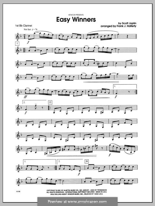 Easy Winners: For clarinets - Clarinet 1 part by Scott Joplin