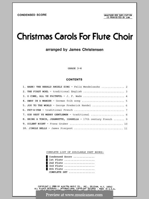 Christmas Carols for Flute Choir/Cond Score: Vollpartitur by folklore