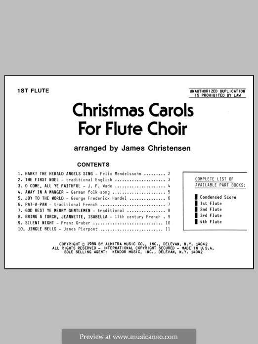 Christmas Carols for Flute Choir/Cond Score: Flute 1 part by folklore