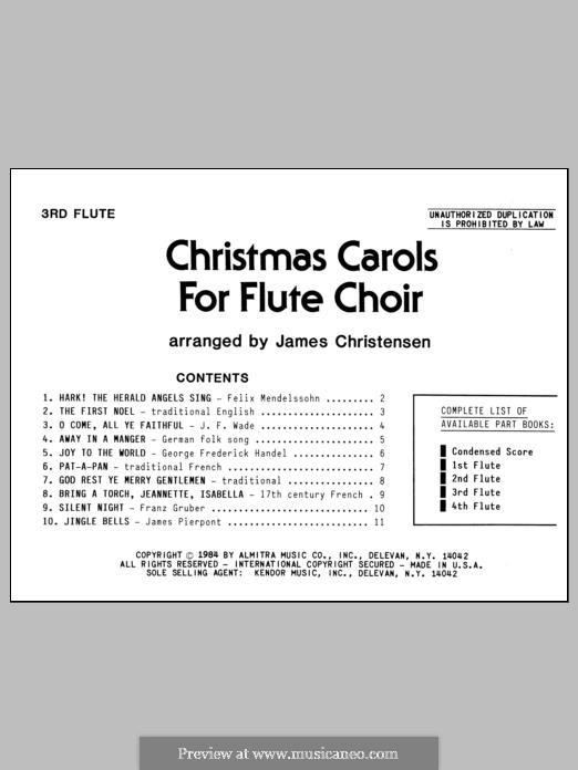 Christmas Carols for Flute Choir/Cond Score: Flute 3 part by folklore