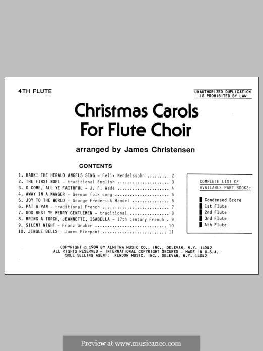 Christmas Carols for Flute Choir/Cond Score: Flute 4 part by folklore