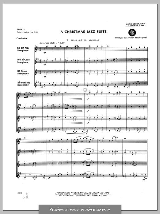 A Christmas Jazz Suite: For saxophones – full score by folklore