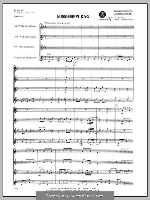 Mississippi Rag: For saxophones – full score by William Krell