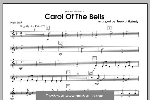 Carol of the Bells: For winds - Horn part by folklore