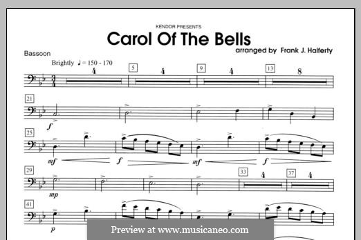 Carol of the Bells: For winds - Bassoon part by folklore