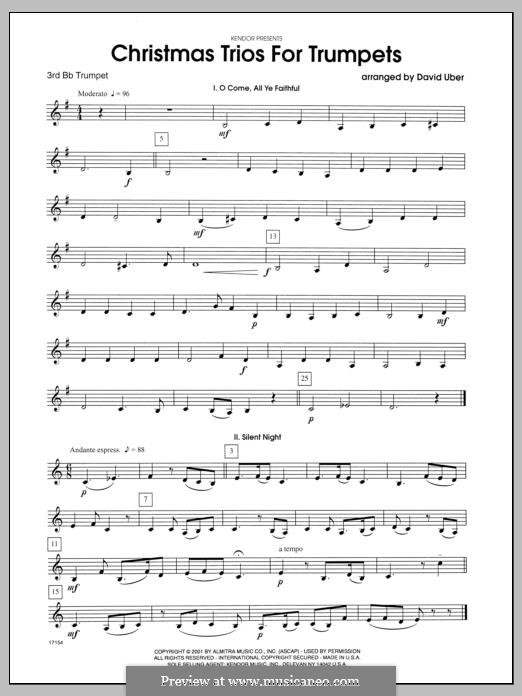 Christmas Trios for Trumpets: 3rd Bb Trumpet part by folklore