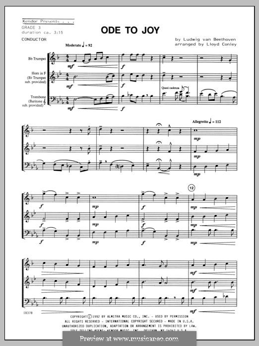 Ode To Joy (Chamber Arrangements): For winds – full score by Ludwig van Beethoven