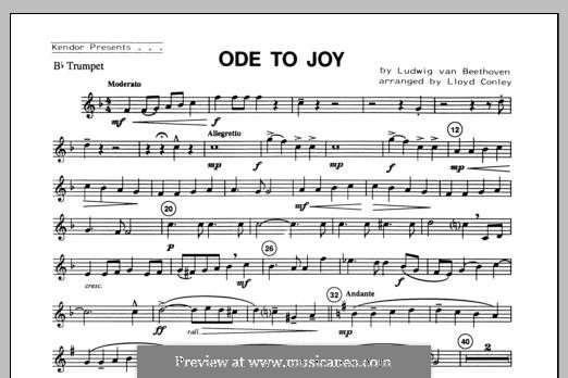 Ode To Joy (Chamber Arrangements): For winds – Bb Trumpet part by Ludwig van Beethoven