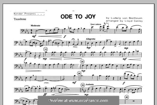 Ode To Joy (Chamber Arrangements): For winds – Trombone part by Ludwig van Beethoven