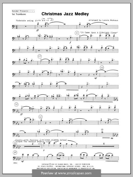 Christmas Jazz Medley: For winds – 1st Trombone part by folklore