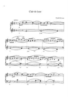 No.3 Clair de lune, for Piano: Easy version by Claude Debussy