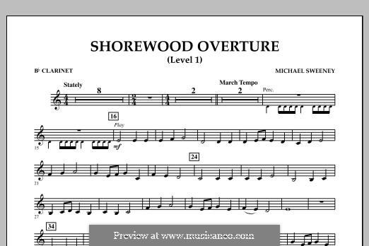 Shorewood Overture (for Multi-level Combined Bands) Level 1: Bb Clarinet part by Michael Sweeney