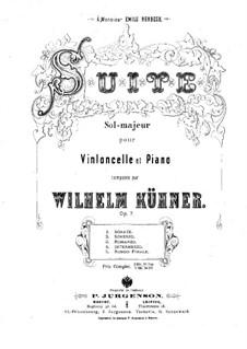 Suite in G-Dur für Cello und Klavier, Op.7: Partitur by Johann(es) Wilhelm Kühner (needs confirmation)