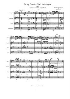 Streichquartett Nr.7 in A-Dur, Hob.III/7 Op.2 No.1: Complete score and parts by Joseph Haydn