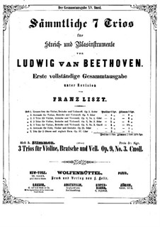 Streichtrio Nr.5 in c-Moll, Op.9 No.3: Violinstimme by Ludwig van Beethoven