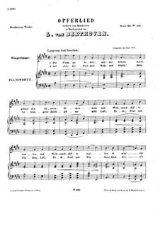 Opferlied, WoO 126: Klavierauszug mit Singstimmen by Ludwig van Beethoven
