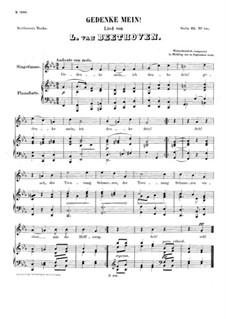 Gedenke mein, WoO 130: Gedenke mein by Ludwig van Beethoven