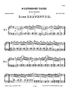 Sechs Ländlerische Tänze für zwei Violinen und Cello, WoO 15: Vollständiger Satz by Ludwig van Beethoven
