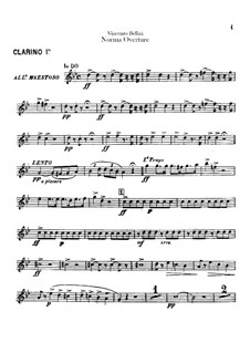 Ouvertüre: Clarino I and clarinet II parts by Vincenzo Bellini