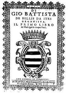 Madrigale für fünf Stimmen: Heft I – Altstimme by Giovanni Battista de Bellis