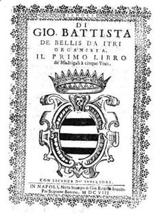 Madrigale für fünf Stimmen: Heft I – Tenorstimme by Giovanni Battista de Bellis