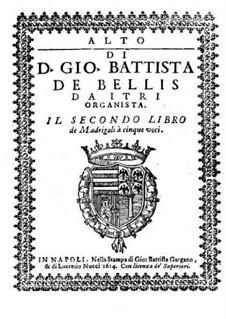 Madrigale für fünf Stimmen: Heft II – Altstimme by Giovanni Battista de Bellis