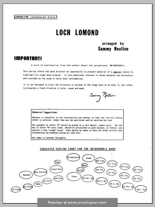 Loch Lomond (arr. Sammy Nestico): Vollpartitur by folklore