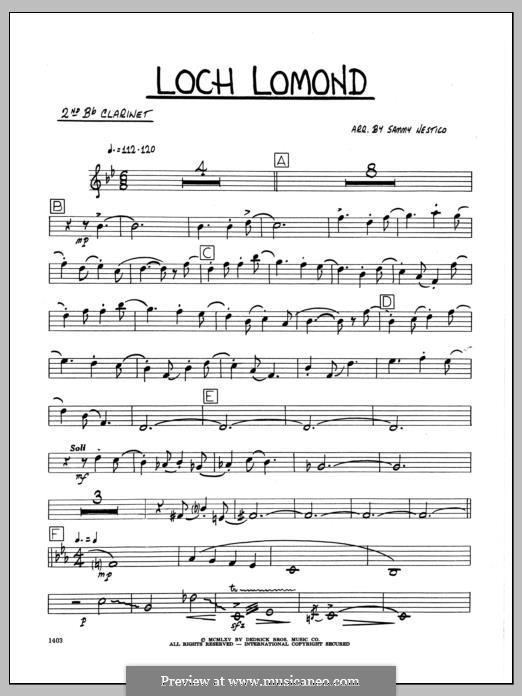 Loch Lomond (arr. Sammy Nestico): 2nd Bb Clarinet part by folklore