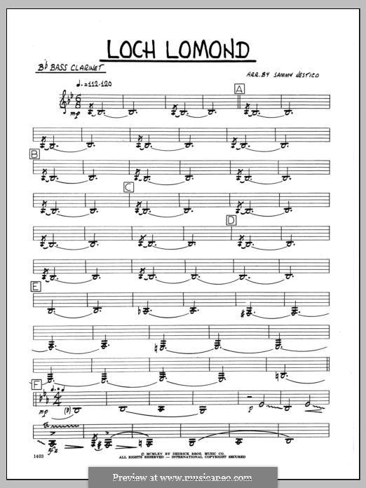 Loch Lomond (arr. Sammy Nestico): Bb Bass Clarinet part by folklore