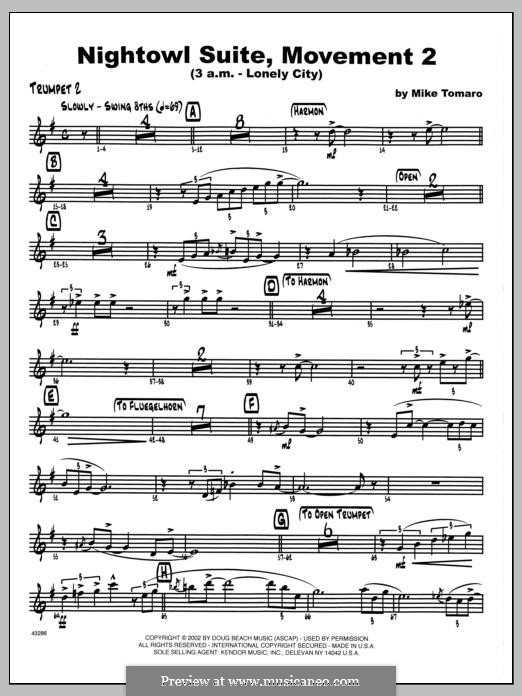 Nightowl Suite, Mvt. 2 (3 a.m. - Lonely City): 2nd Bb Trumpet part by Mike Tomaro