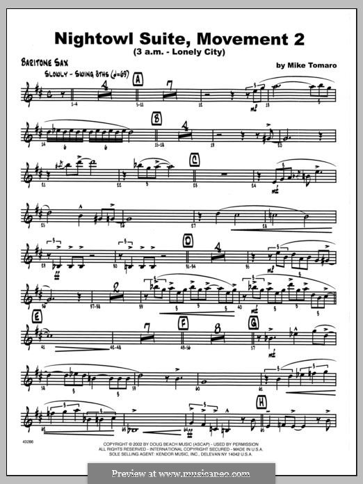 Nightowl Suite, Mvt. 2 (3 a.m. - Lonely City): Eb Baritone Sax part by Mike Tomaro