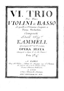 Sechs Sonaten für zwei Violinen und Basso Continuo, Op.6: Violinstimme II by Antonín Kammel