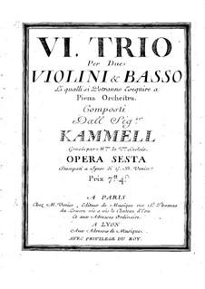 Sechs Sonaten für zwei Violinen und Basso Continuo, Op.6: Basso Continuo Stimme by Antonín Kammel