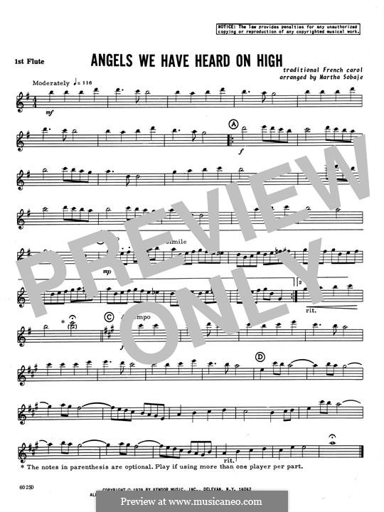 Angels We Have Heard on High: For quartet flutes – 1st Flute part by folklore